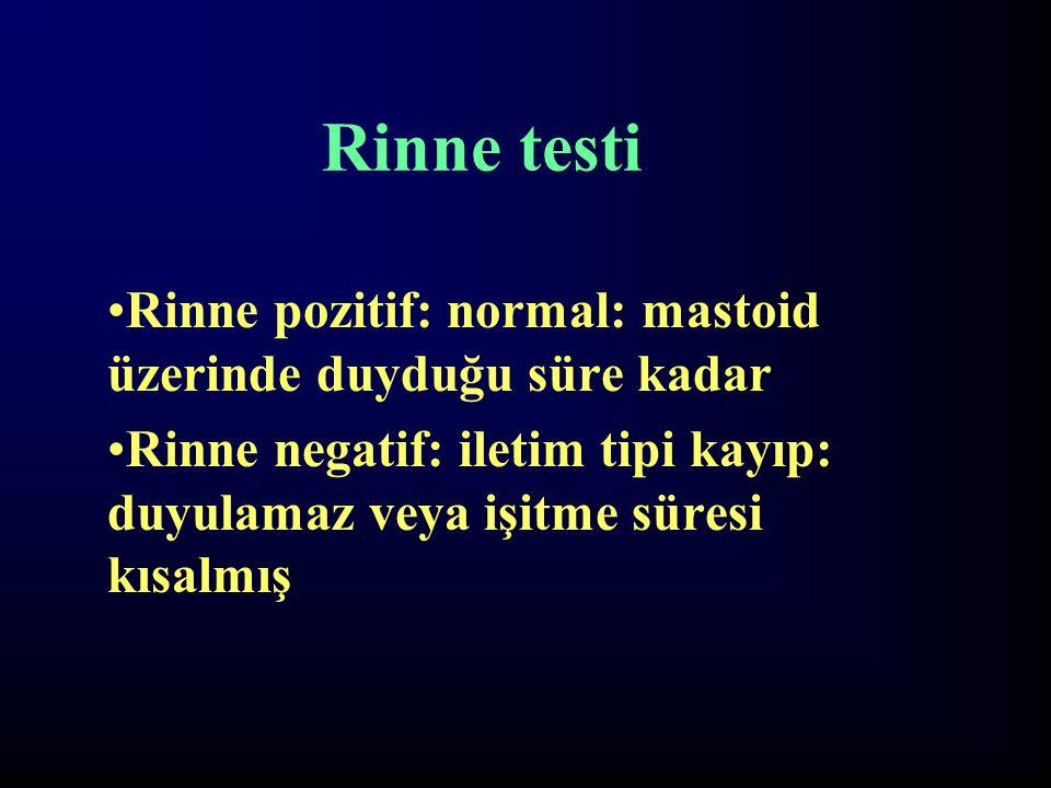 Rinne testi Rinne pozitif: normal: mastoid üzerinde duyduğu süre kadar