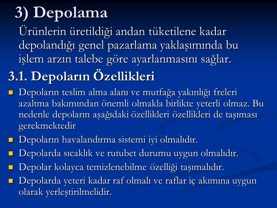3) Depolama 3.1. Depoların Özellikleri