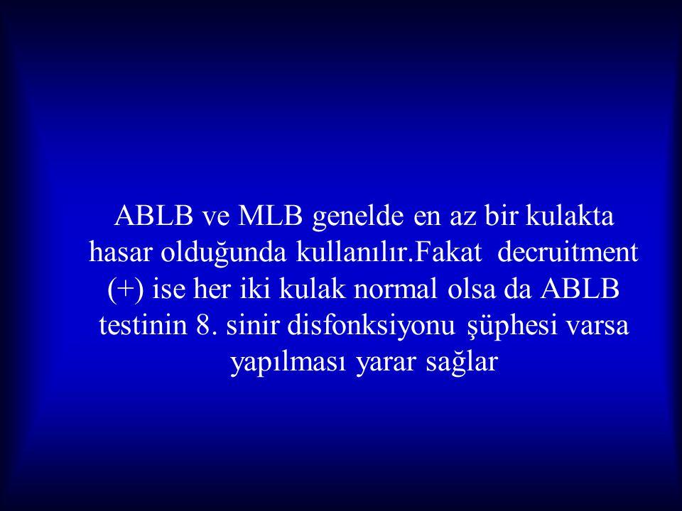 ABLB ve MLB genelde en az bir kulakta hasar olduğunda kullanılır