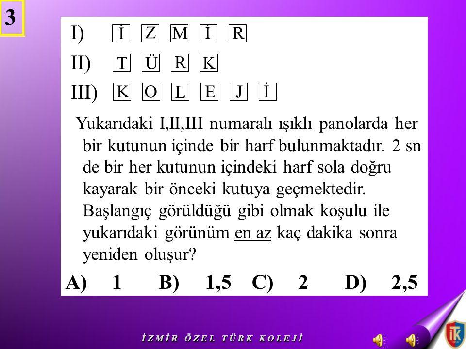 3 I) II) III)