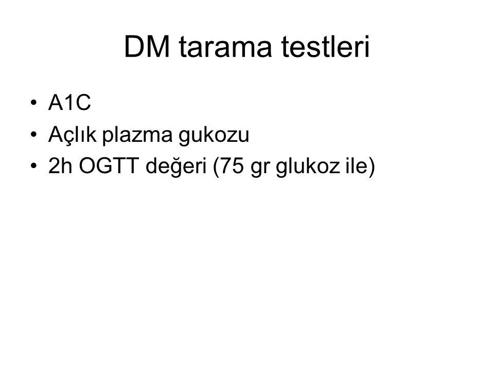DM tarama testleri A1C Açlık plazma gukozu