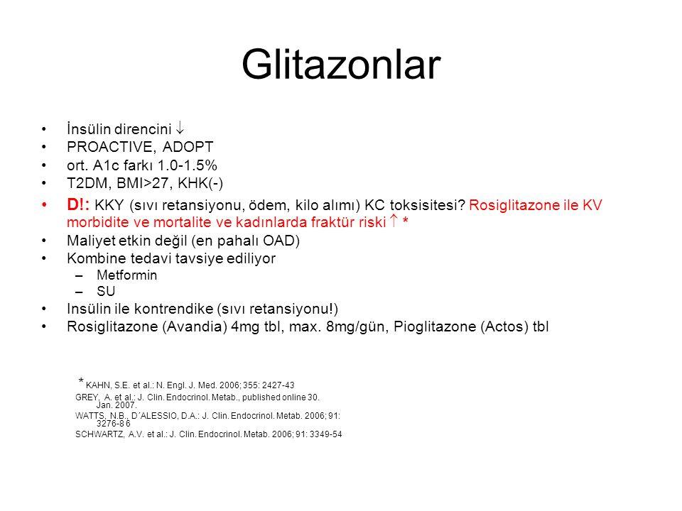Glitazonlar İnsülin direncini  PROACTIVE, ADOPT. ort. A1c farkı 1.0-1.5% T2DM, BMI>27, KHK(-)