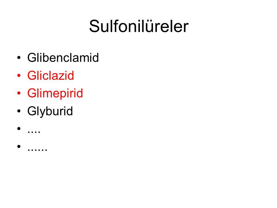 Sulfonilüreler Glibenclamid Gliclazid Glimepirid Glyburid .... ......