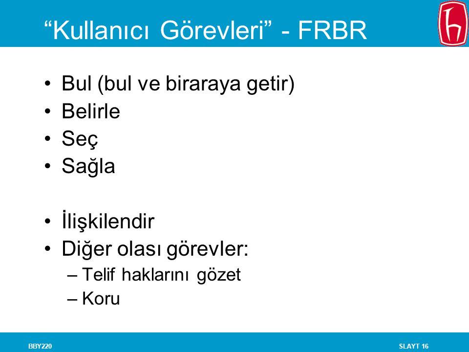 Kullanıcı Görevleri - FRBR