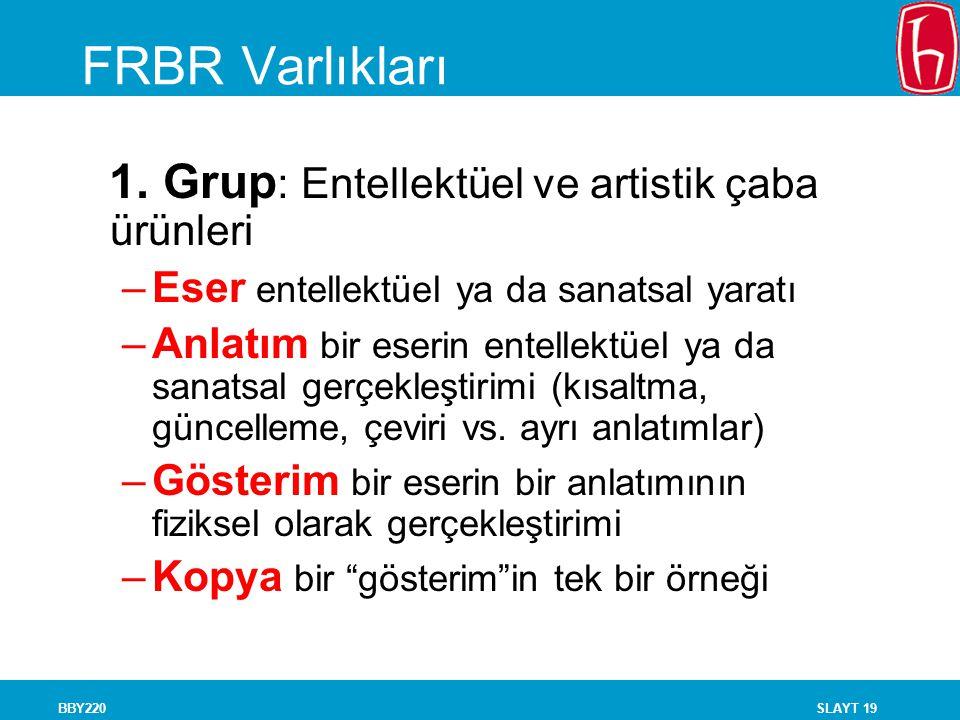 FRBR Varlıkları 1. Grup: Entellektüel ve artistik çaba ürünleri