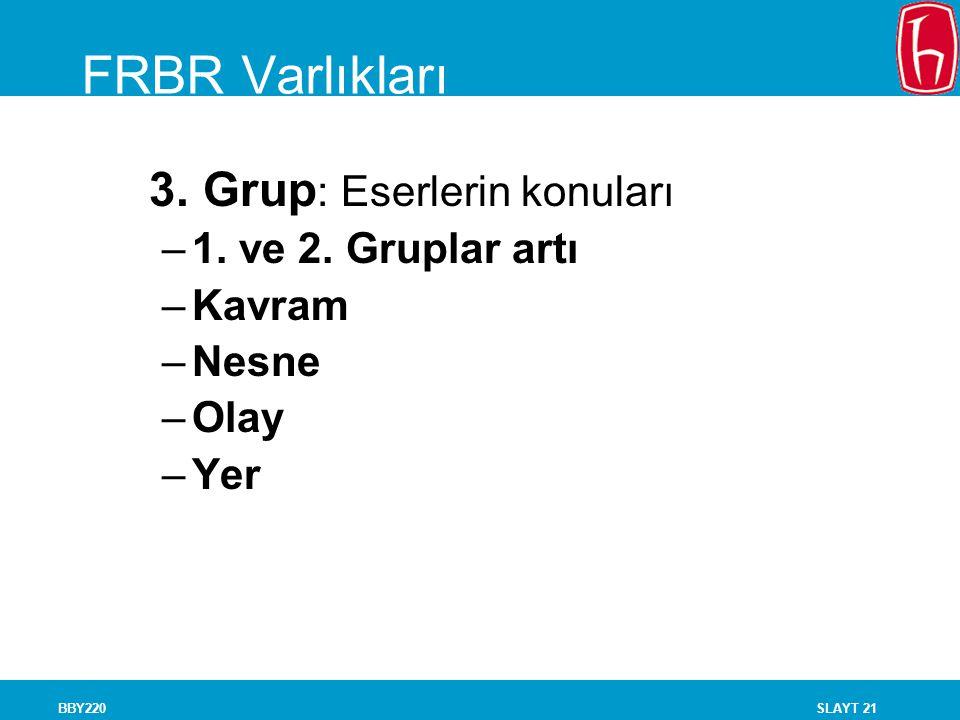 FRBR Varlıkları 3. Grup: Eserlerin konuları 1. ve 2. Gruplar artı