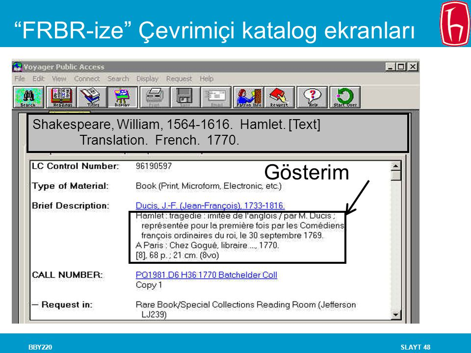FRBR-ize Çevrimiçi katalog ekranları