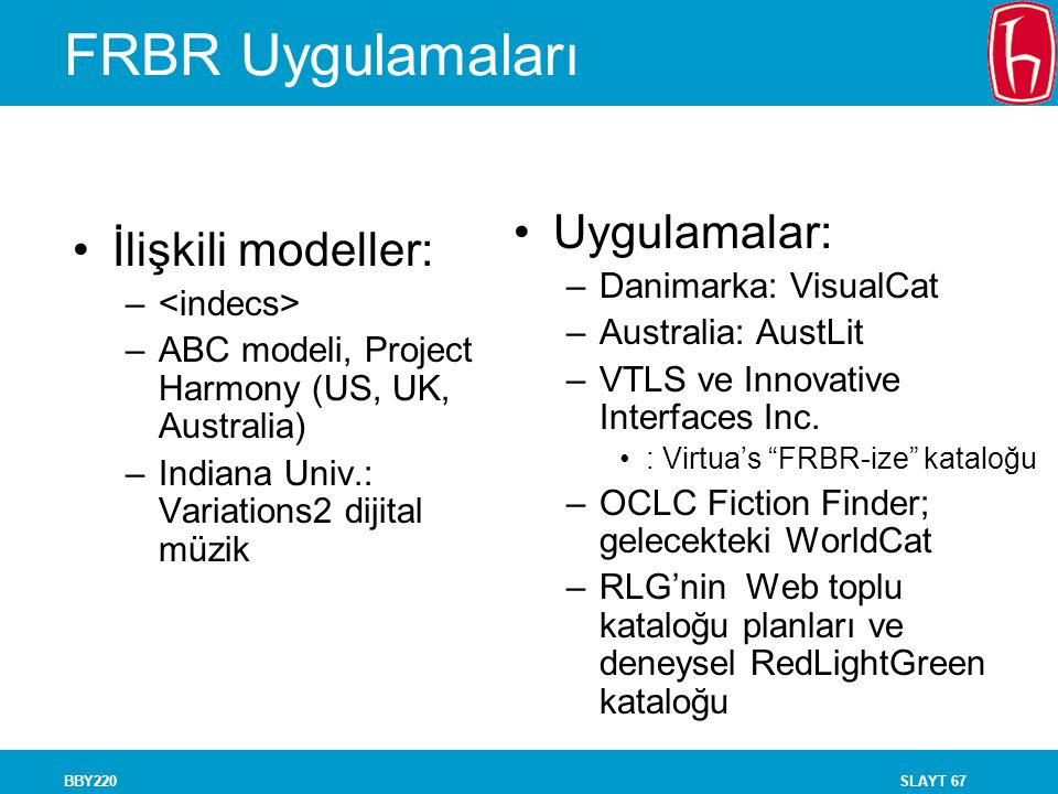 FRBR Uygulamaları Uygulamalar: İlişkili modeller: Danimarka: VisualCat