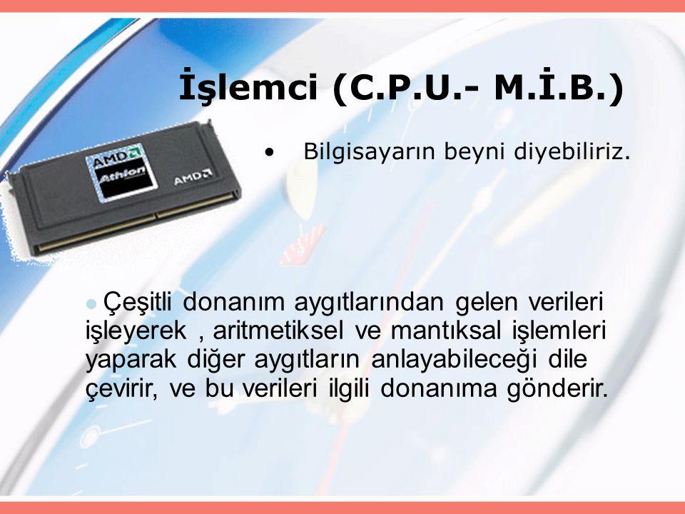 İşlemci (C.P.U.- M.İ.B.) Bilgisayarın beyni diyebiliriz.