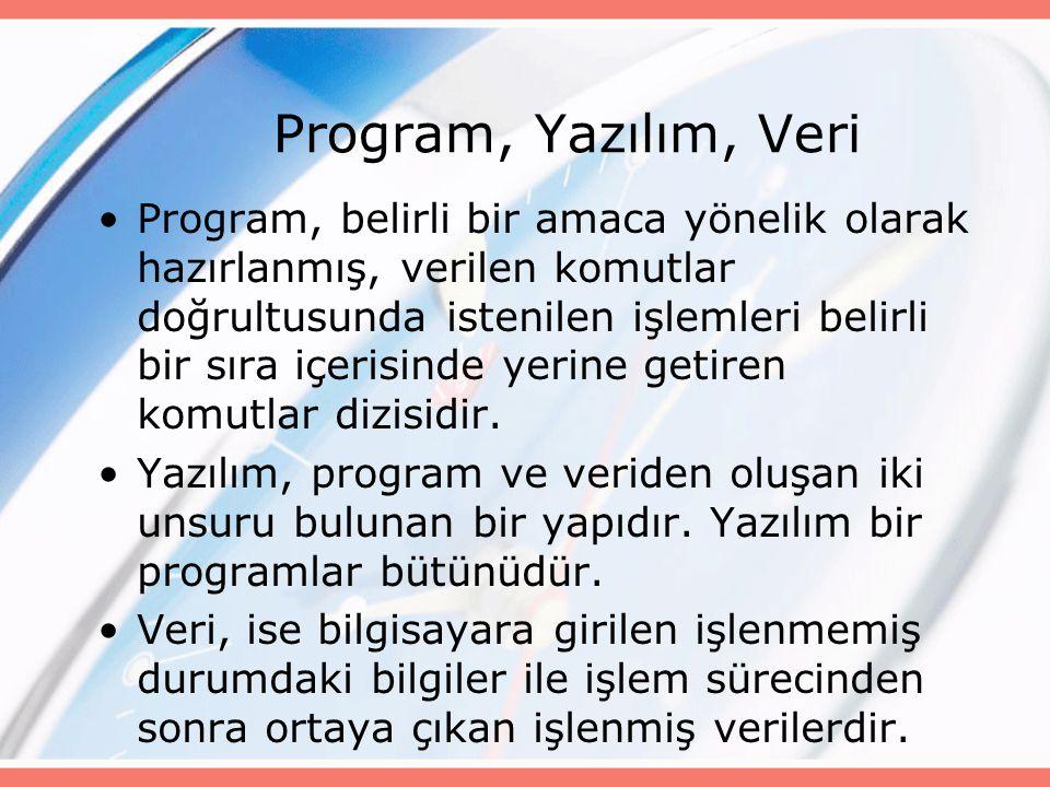 Program, Yazılım, Veri