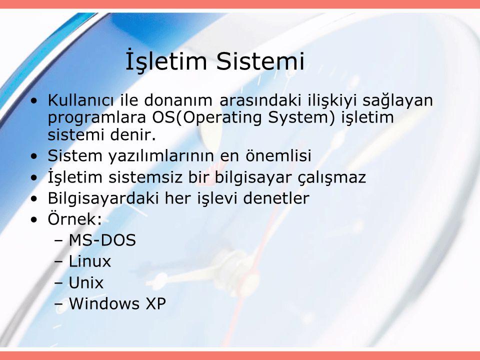İşletim Sistemi Kullanıcı ile donanım arasındaki ilişkiyi sağlayan programlara OS(Operating System) işletim sistemi denir.