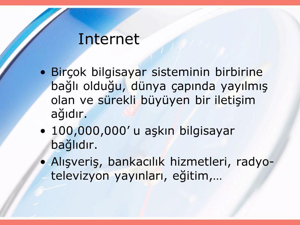 Internet Birçok bilgisayar sisteminin birbirine bağlı olduğu, dünya çapında yayılmış olan ve sürekli büyüyen bir iletişim ağıdır.