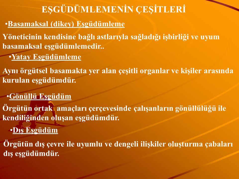 EŞGÜDÜMLEMENİN ÇEŞİTLERİ Basamaksal (dikey) Eşgüdümleme