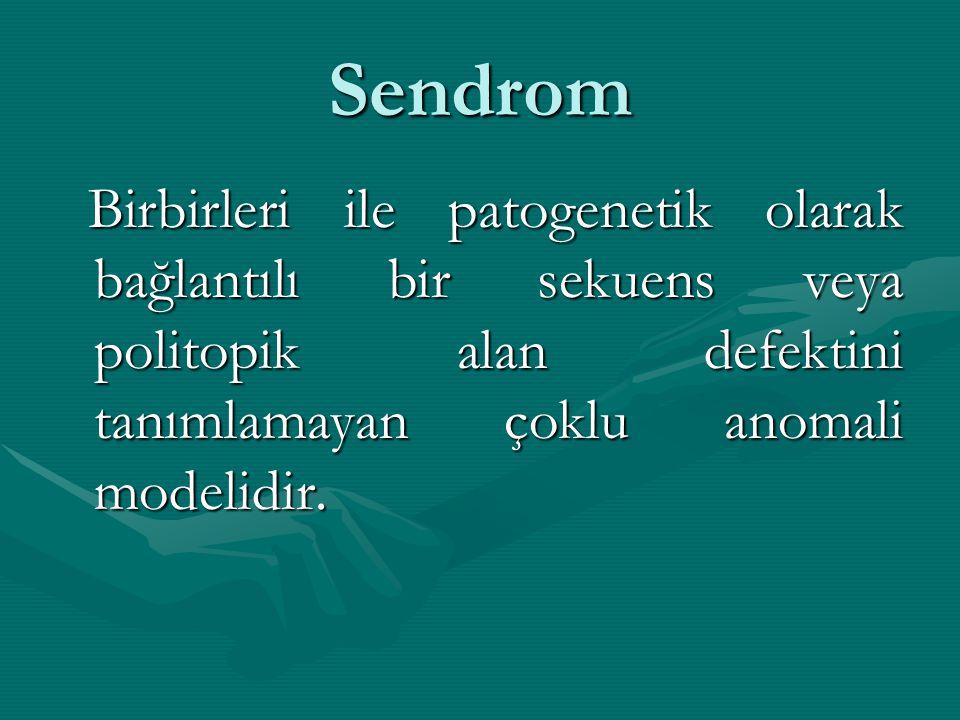 Sendrom Birbirleri ile patogenetik olarak bağlantılı bir sekuens veya politopik alan defektini tanımlamayan çoklu anomali modelidir.