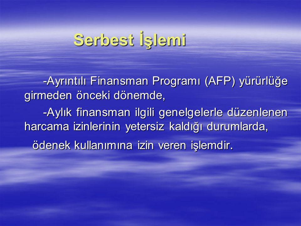 -Ayrıntılı Finansman Programı (AFP) yürürlüğe girmeden önceki dönemde,