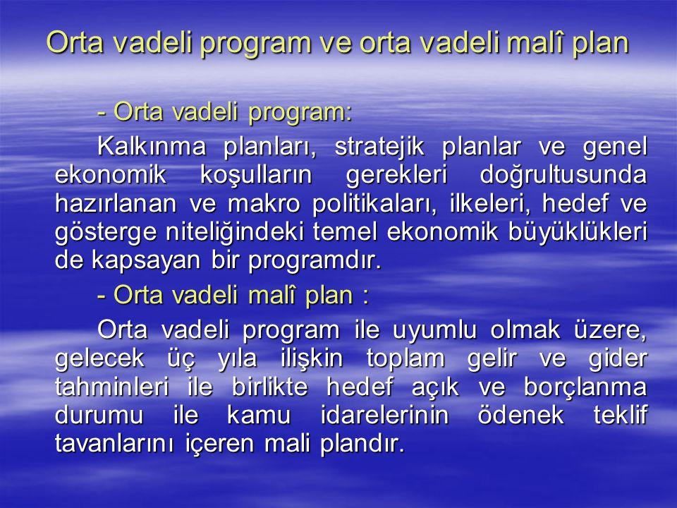 Orta vadeli program ve orta vadeli malî plan