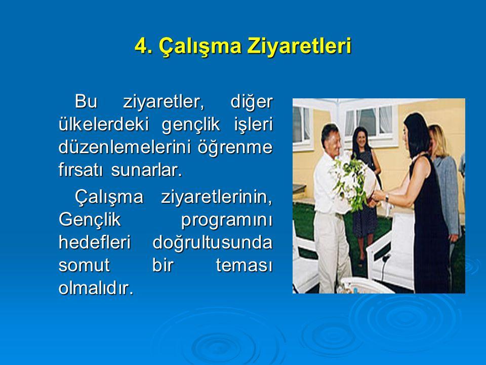 4. Çalışma Ziyaretleri Bu ziyaretler, diğer ülkelerdeki gençlik işleri düzenlemelerini öğrenme fırsatı sunarlar.