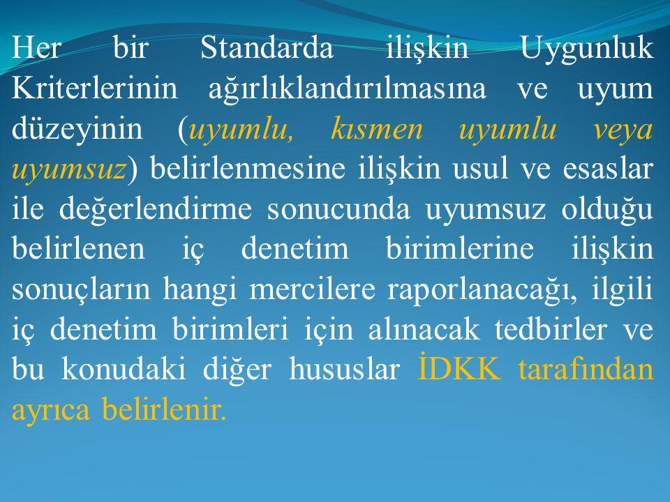 Her bir Standarda ilişkin Uygunluk Kriterlerinin ağırlıklandırılmasına ve uyum düzeyinin (uyumlu, kısmen uyumlu veya uyumsuz) belirlenmesine ilişkin usul ve esaslar ile değerlendirme sonucunda uyumsuz olduğu belirlenen iç denetim birimlerine ilişkin sonuçların hangi mercilere raporlanacağı, ilgili iç denetim birimleri için alınacak tedbirler ve bu konudaki diğer hususlar İDKK tarafından ayrıca belirlenir.