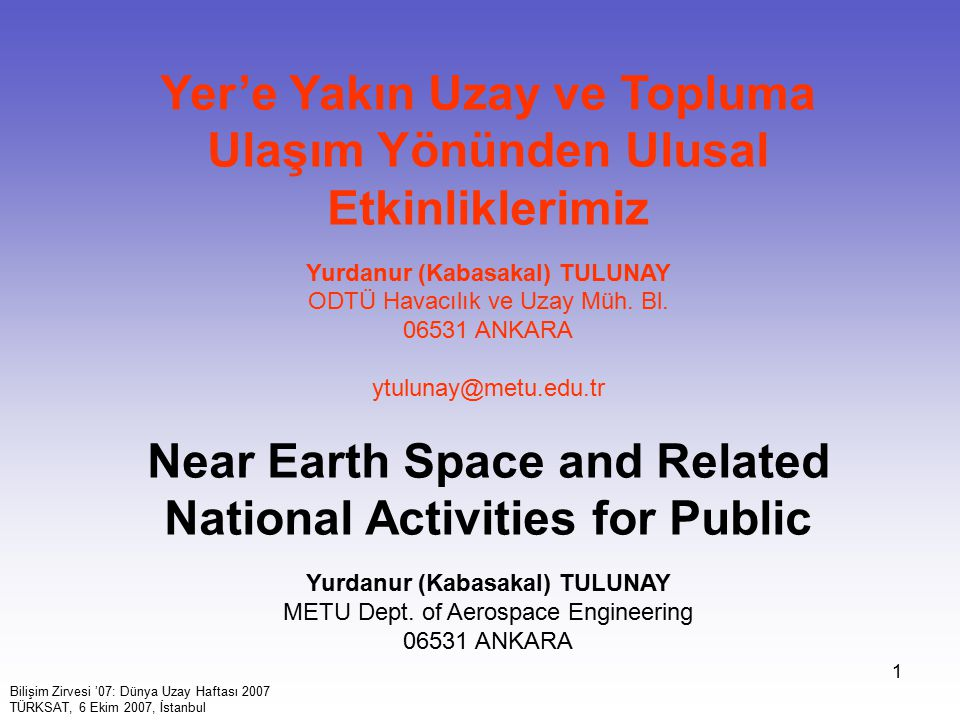 Near Earth Space and Related National Activities for Public