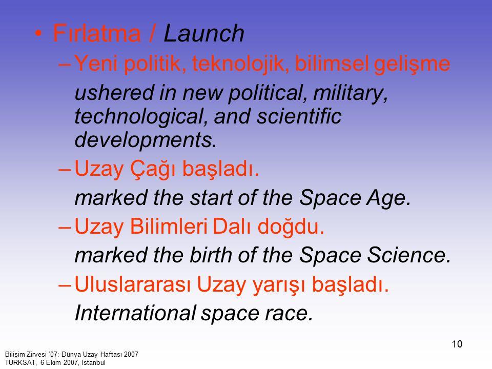 Fırlatma / Launch Yeni politik, teknolojik, bilimsel gelişme