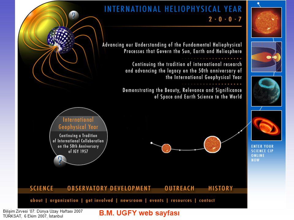 B.M. UGFY web sayfası Bilişim Zirvesi '07: Dünya Uzay Haftası 2007