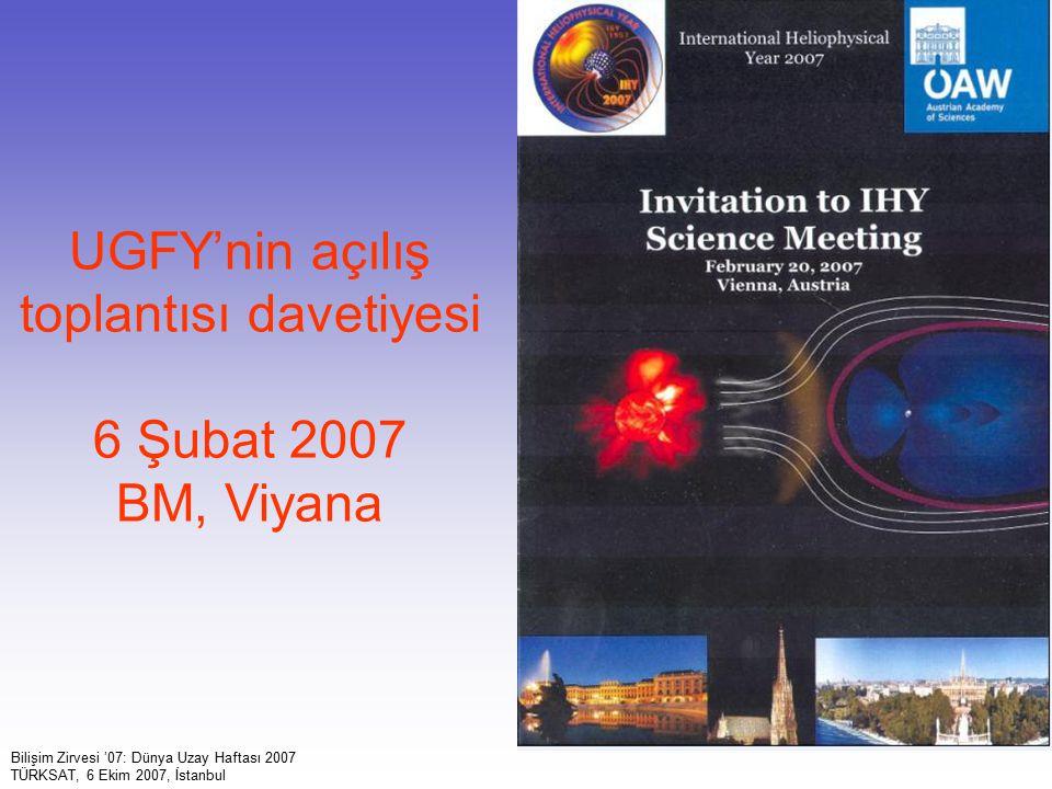 UGFY'nin açılış toplantısı davetiyesi