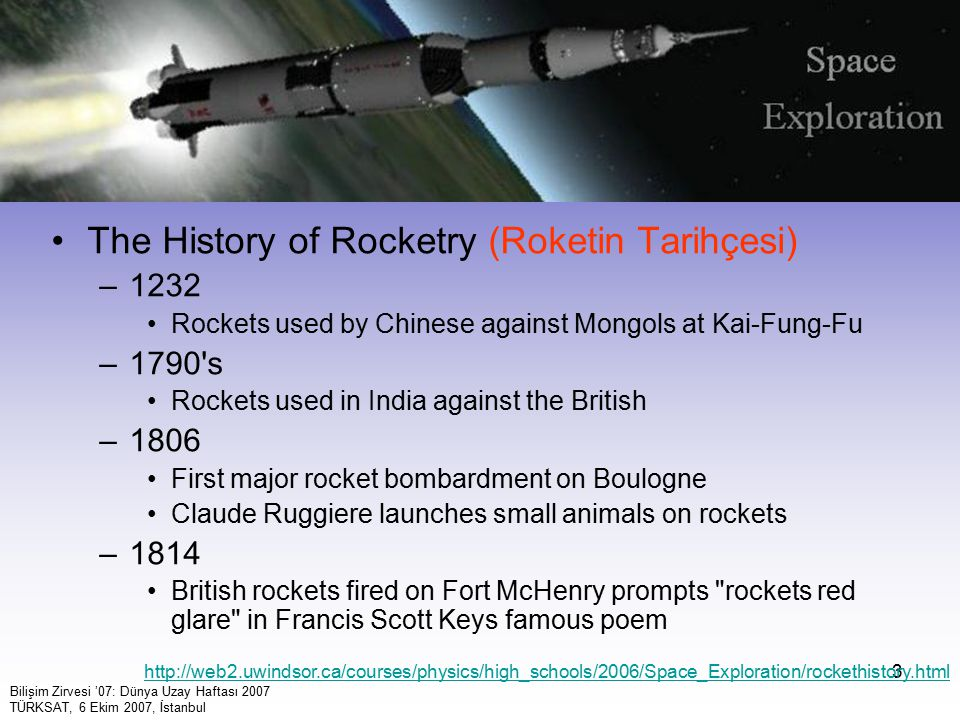 The History of Rocketry (Roketin Tarihçesi)