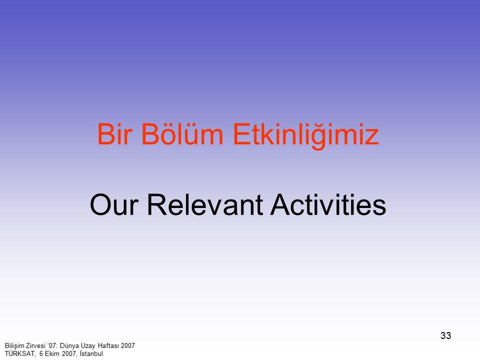 Bir Bölüm Etkinliğimiz Our Relevant Activities