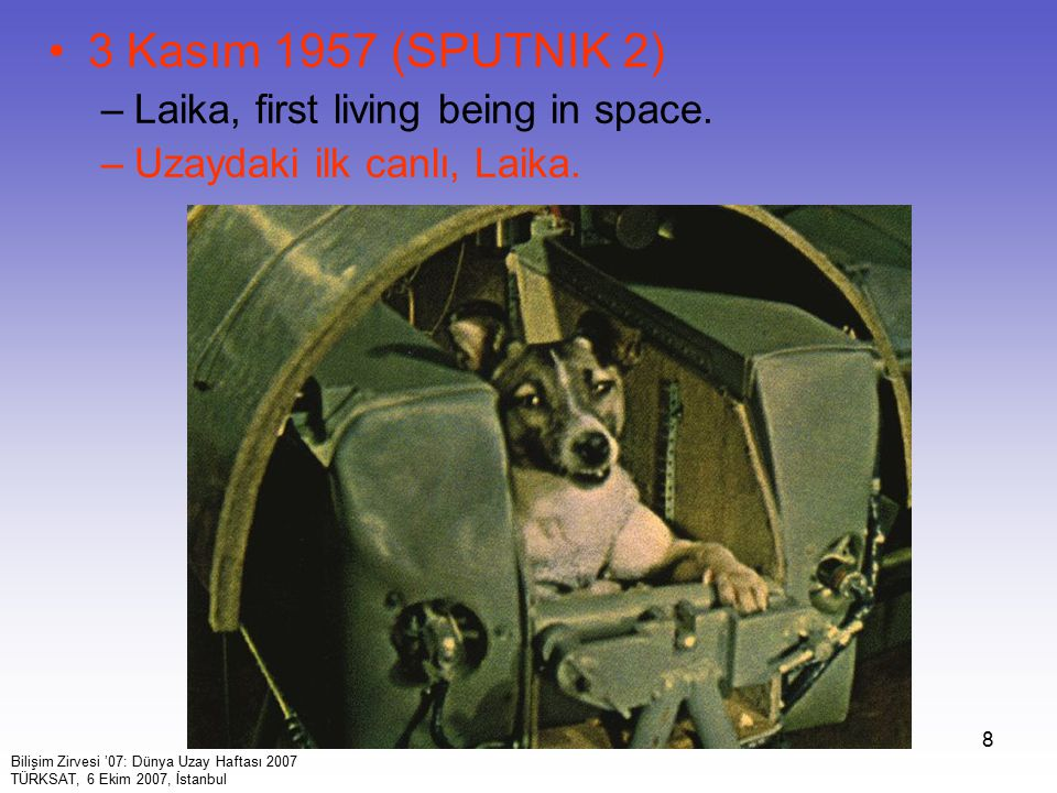 3 Kasım 1957 (SPUTNIK 2) Laika, first living being in space.