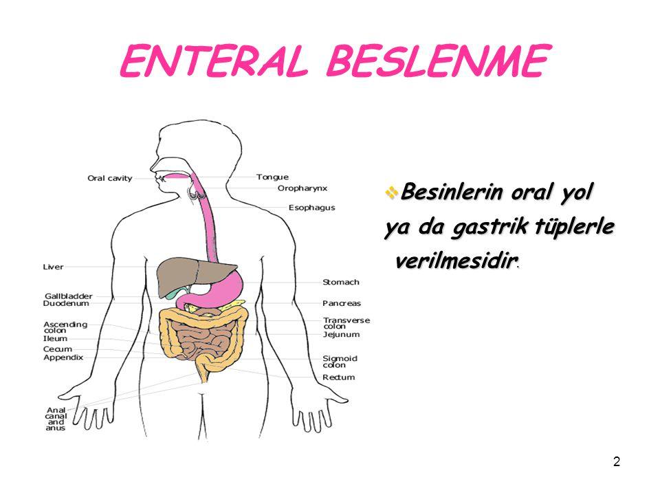 ENTERAL BESLENME Besinlerin oral yol ya da gastrik tüplerle