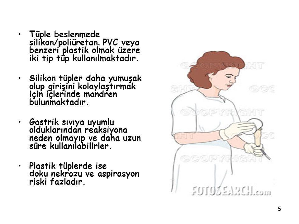 Tüple beslenmede silikon/poliüretan, PVC veya benzeri plastik olmak üzere iki tip tüp kullanılmaktadır.