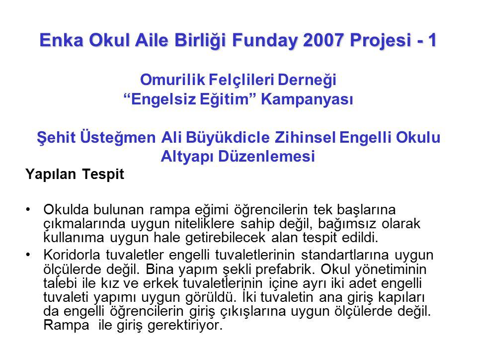 Enka Okul Aile Birliği Funday 2007 Projesi - 1 Omurilik Felçlileri Derneği Engelsiz Eğitim Kampanyası Şehit Üsteğmen Ali Büyükdicle Zihinsel Engelli Okulu Altyapı Düzenlemesi