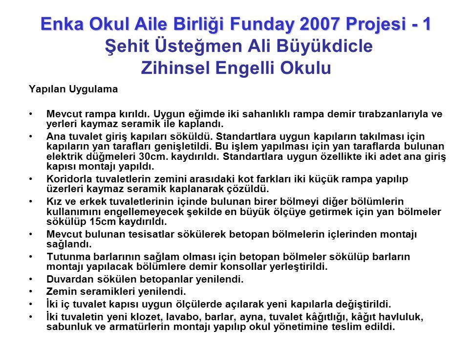 Enka Okul Aile Birliği Funday 2007 Projesi - 1 Şehit Üsteğmen Ali Büyükdicle Zihinsel Engelli Okulu