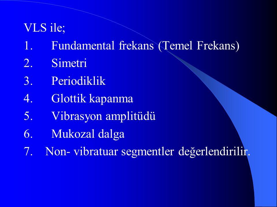 VLS ile; 1. Fundamental frekans (Temel Frekans) 2. Simetri. 3. Periodiklik. 4. Glottik kapanma.