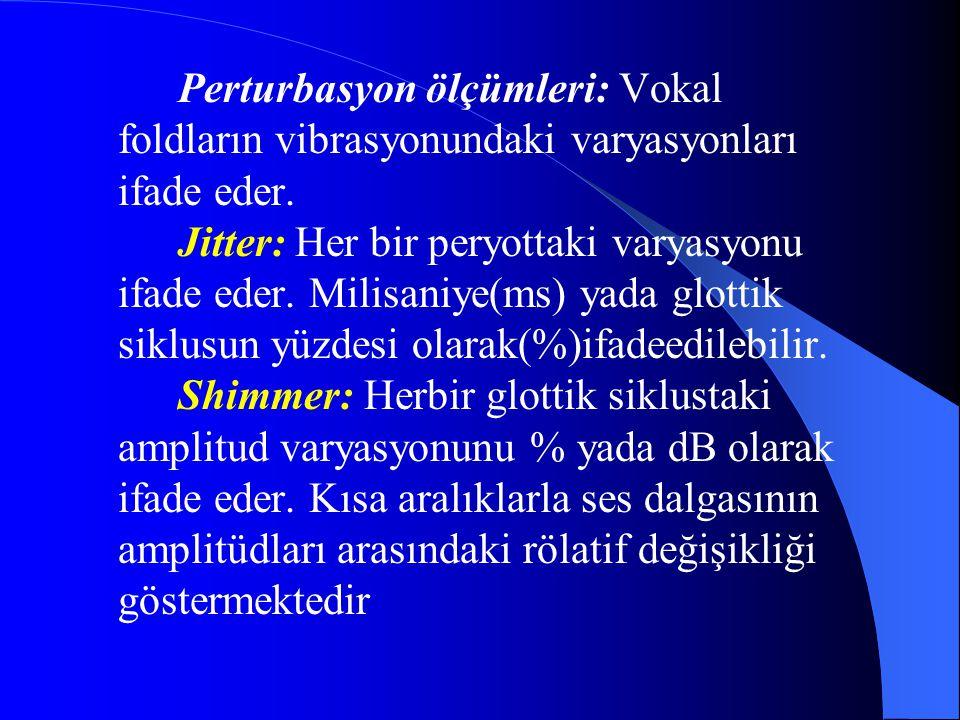 Perturbasyon ölçümleri: Vokal foldların vibrasyonundaki varyasyonları ifade eder.