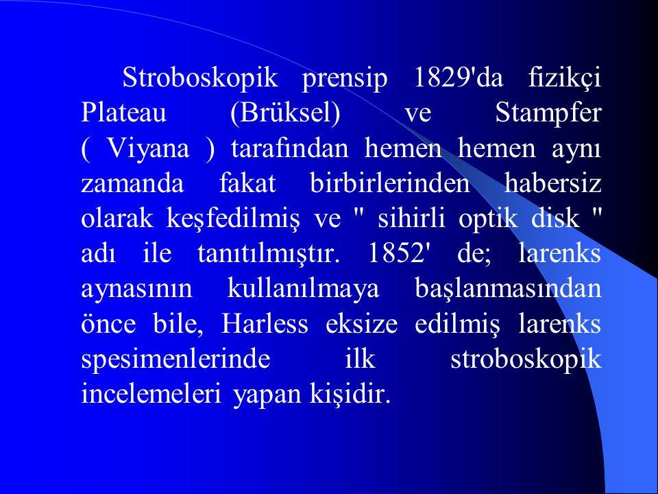 Stroboskopik prensip 1829 da fizikçi Plateau (Brüksel) ve Stampfer ( Viyana ) tarafından hemen hemen aynı zamanda fakat birbirlerinden habersiz olarak keşfedilmiş ve sihirli optik disk adı ile tanıtılmıştır.