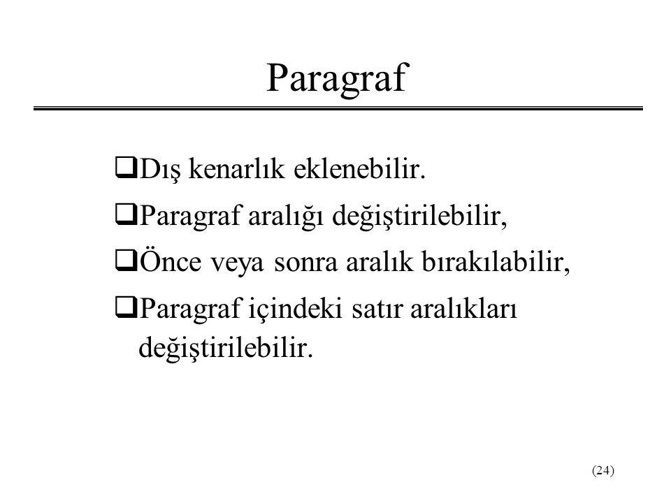 Paragraf Dış kenarlık eklenebilir. Paragraf aralığı değiştirilebilir,