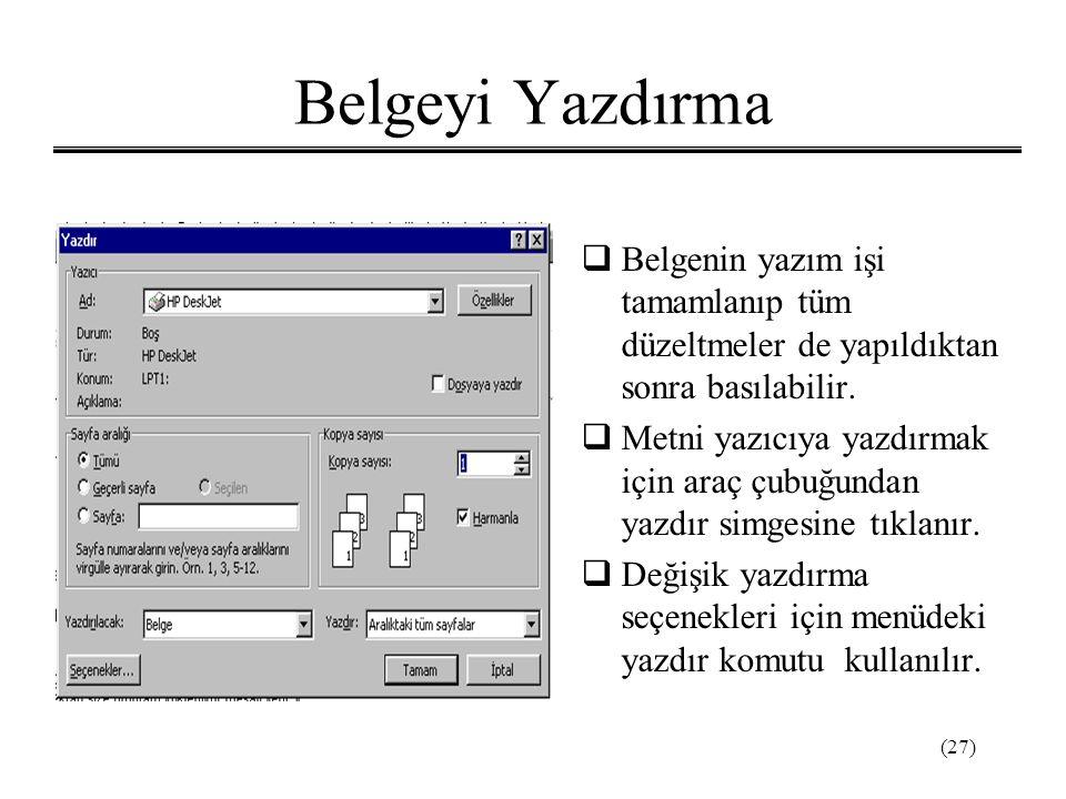 Belgeyi Yazdırma Belgenin yazım işi tamamlanıp tüm düzeltmeler de yapıldıktan sonra basılabilir.