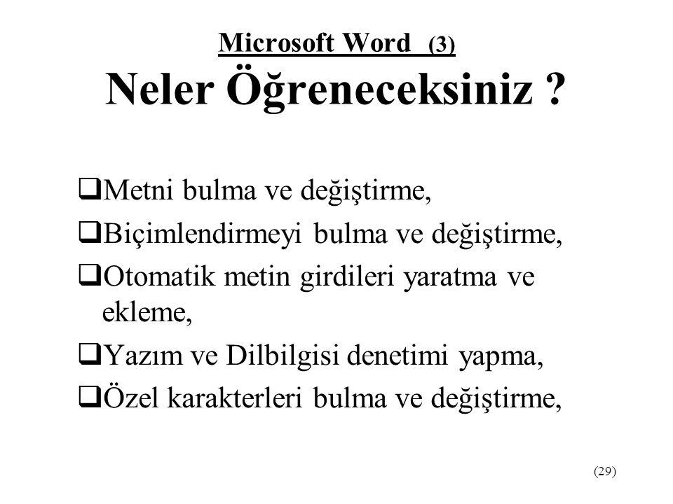Microsoft Word (3) Neler Öğreneceksiniz