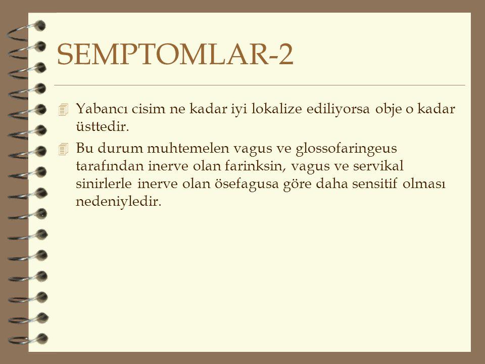 SEMPTOMLAR-2 Yabancı cisim ne kadar iyi lokalize ediliyorsa obje o kadar üsttedir.