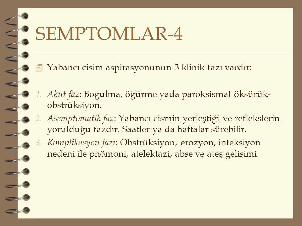 SEMPTOMLAR-4 Yabancı cisim aspirasyonunun 3 klinik fazı vardır: