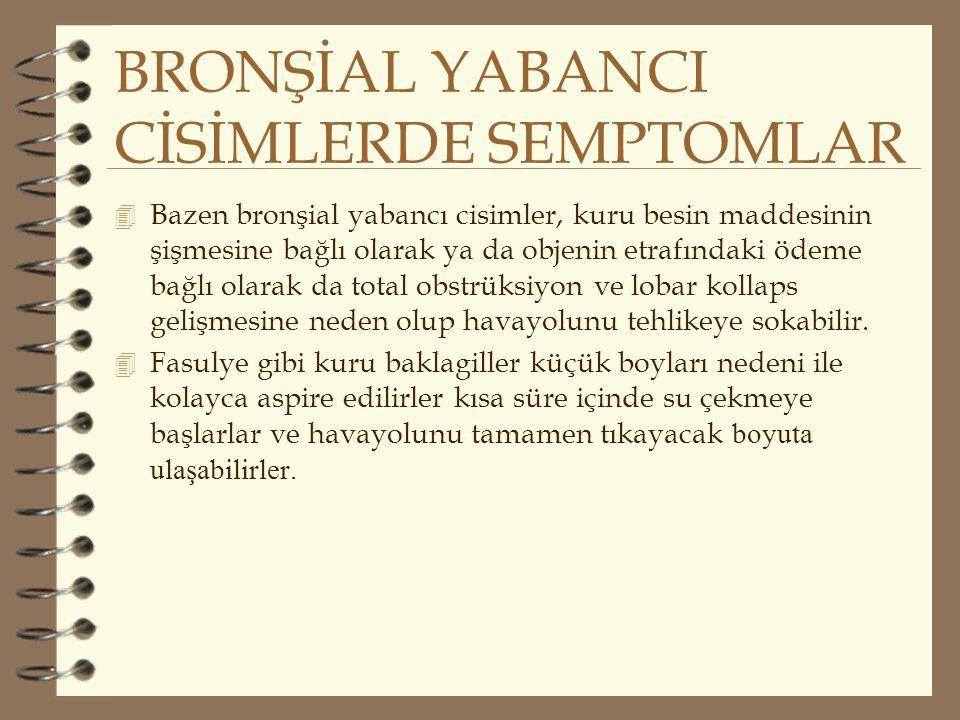 BRONŞİAL YABANCI CİSİMLERDE SEMPTOMLAR