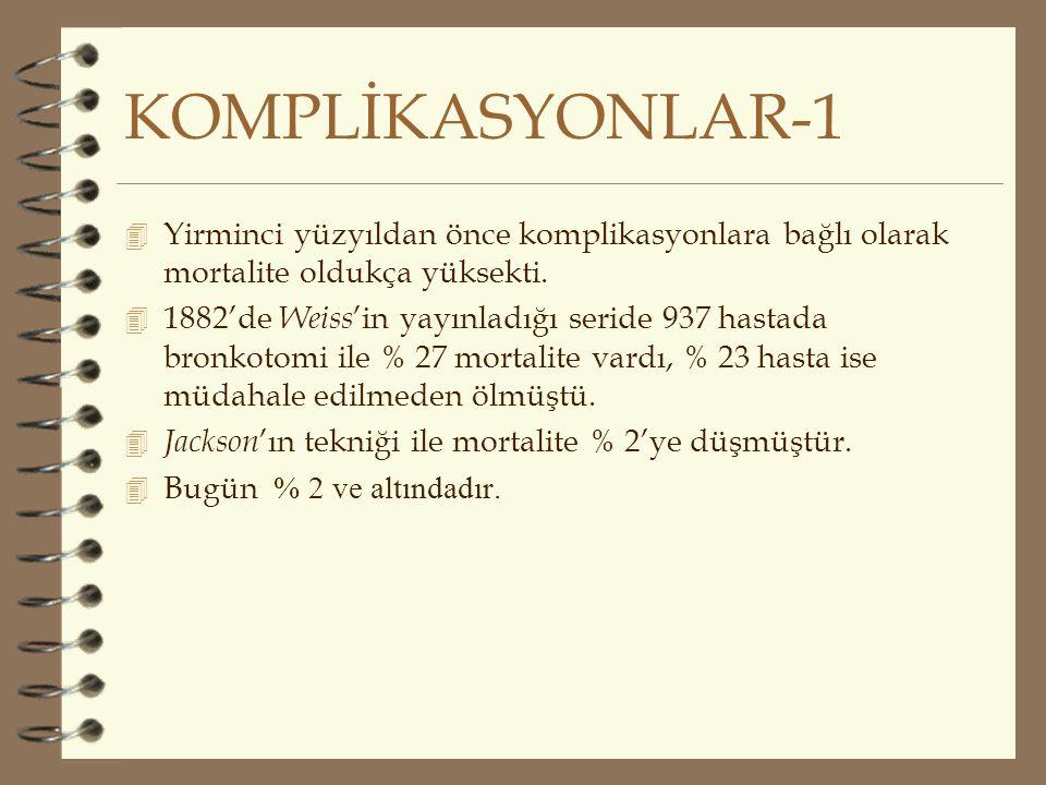 KOMPLİKASYONLAR-1 Yirminci yüzyıldan önce komplikasyonlara bağlı olarak mortalite oldukça yüksekti.