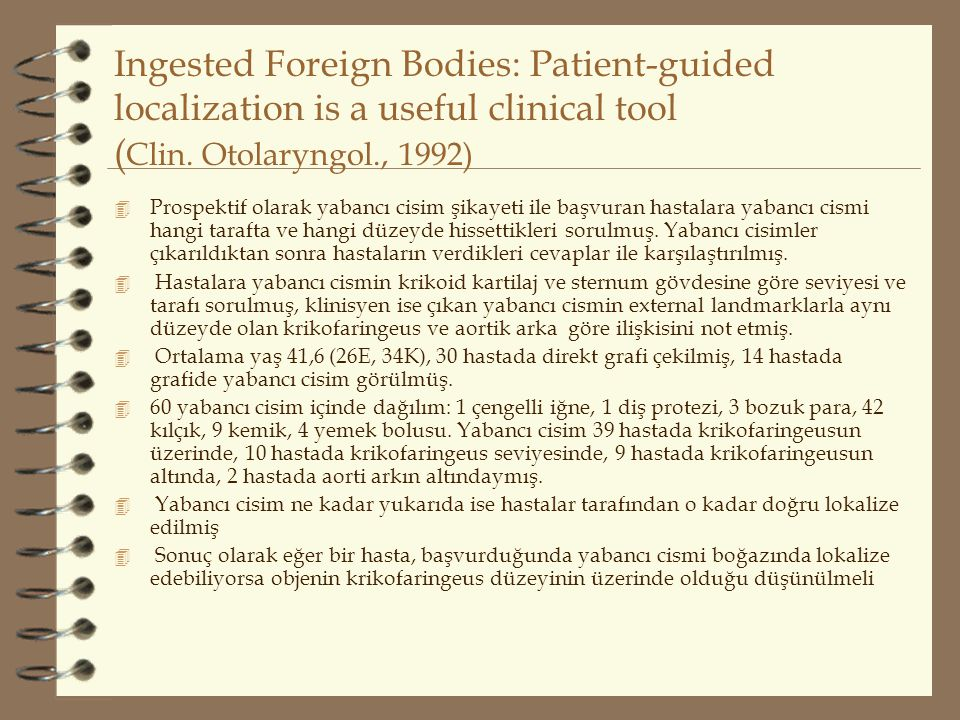 Ingested Foreign Bodies: Patient-guided localization is a useful clinical tool (Clin. Otolaryngol., 1992)