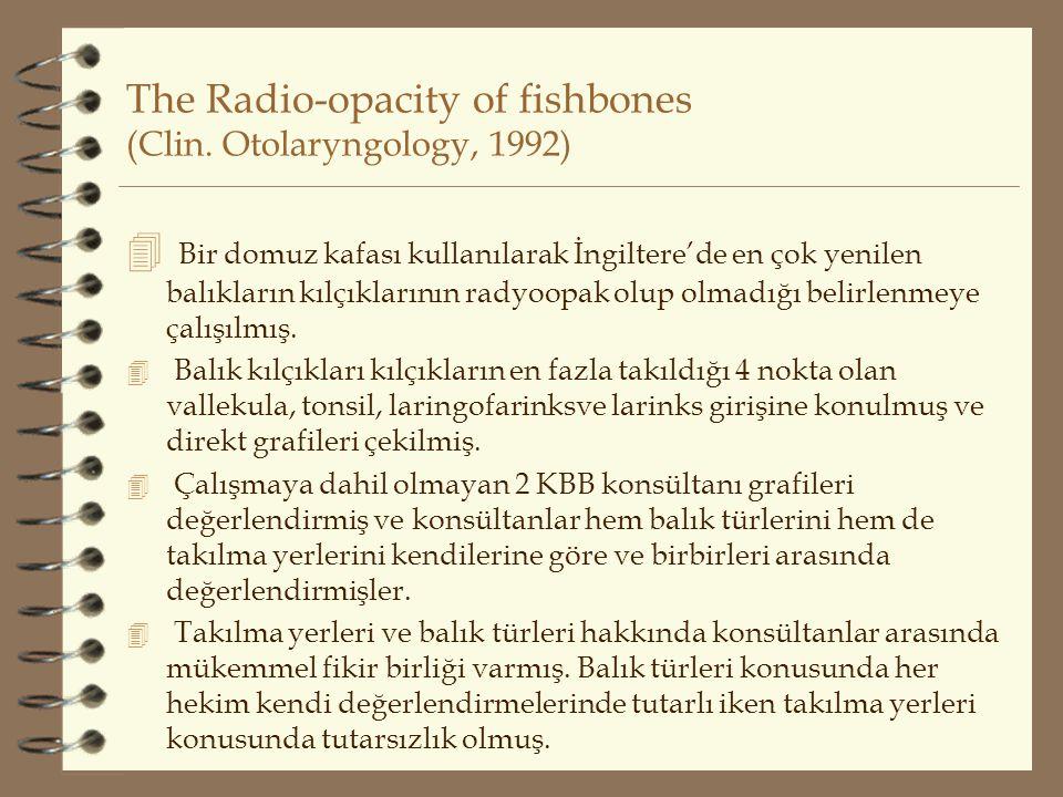 The Radio-opacity of fishbones (Clin. Otolaryngology, 1992)