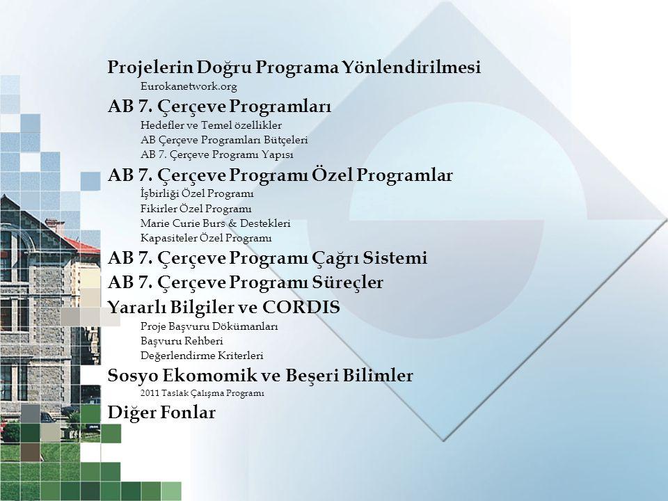 Projelerin Doğru Programa Yönlendirilmesi AB 7. Çerçeve Programları