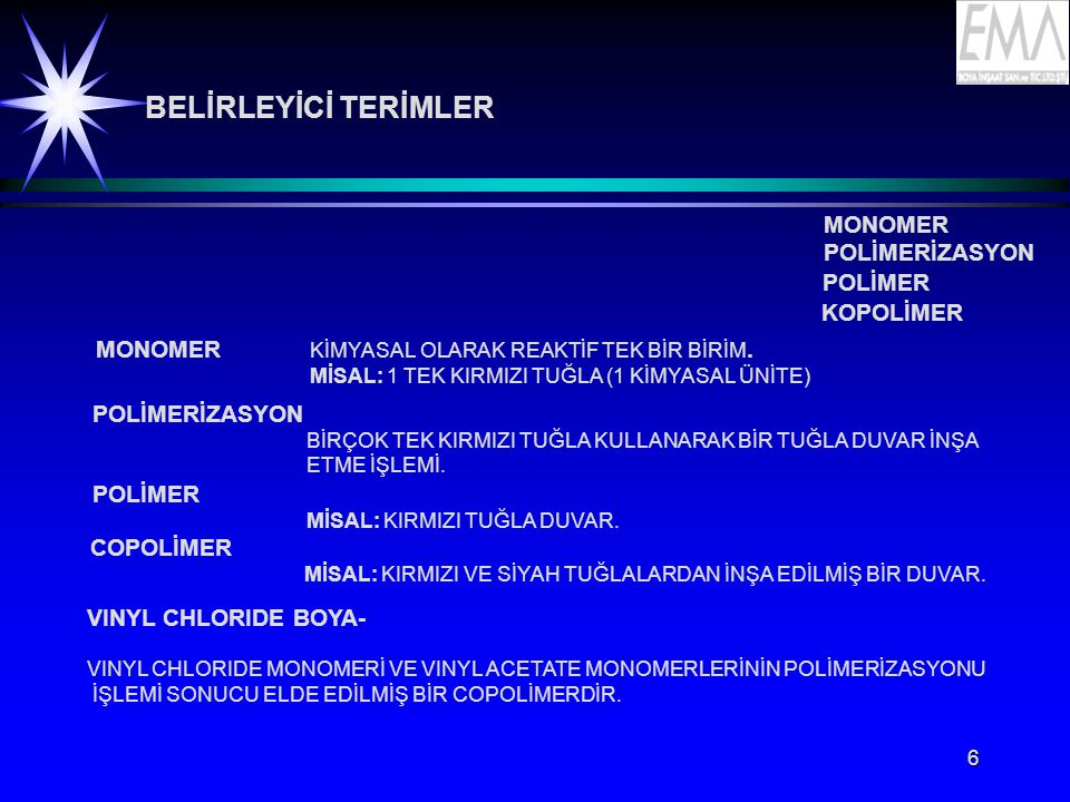 BELİRLEYİCİ TERİMLER MONOMER POLİMERİZASYON POLİMER KOPOLİMER