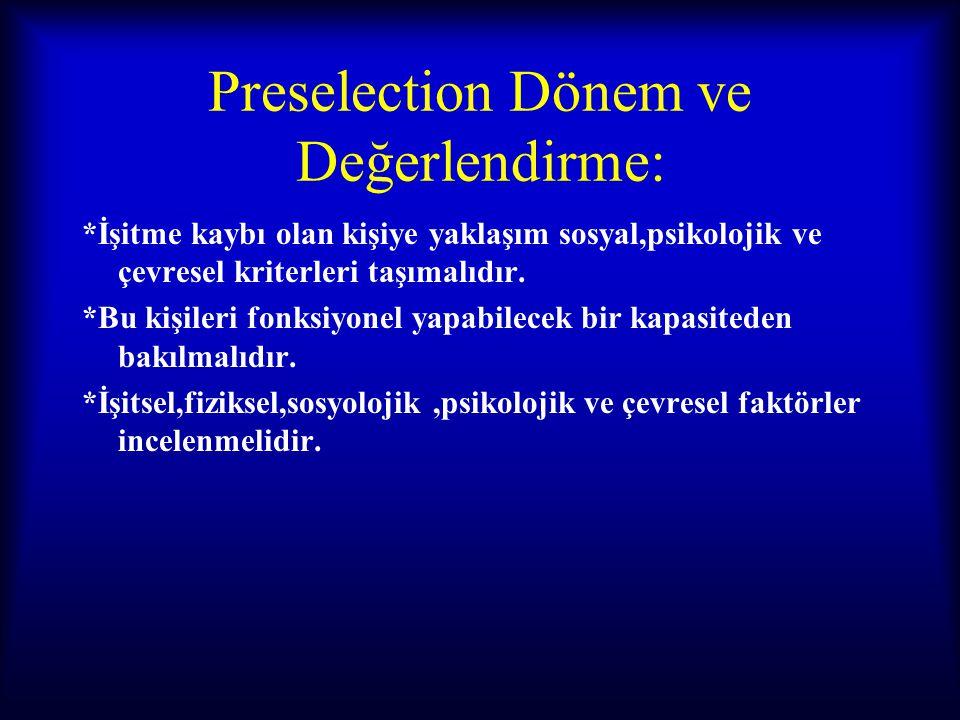 Preselection Dönem ve Değerlendirme: