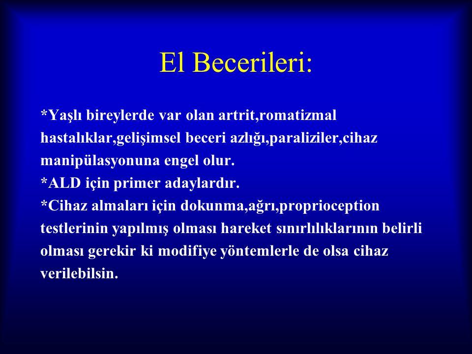 El Becerileri: *Yaşlı bireylerde var olan artrit,romatizmal