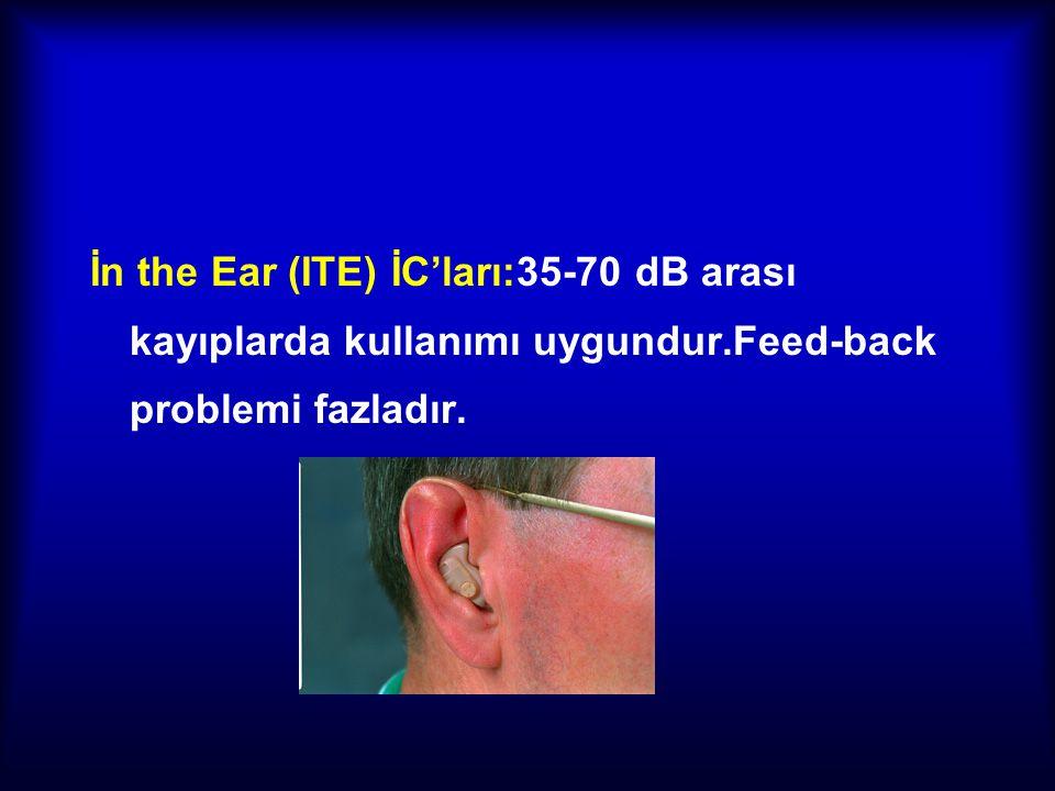 İn the Ear (ITE) İC'ları:35-70 dB arası kayıplarda kullanımı uygundur